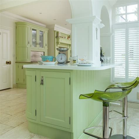 green kitchen island green shaker style kitchen island housetohome co uk