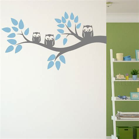kids decals for bedroom walls cute three owls branch wall decal sticker home decoration