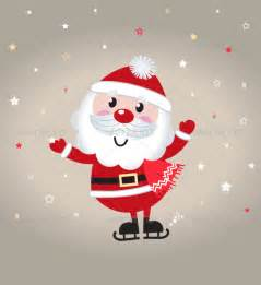 Cute cartoon christmas santa claus on snowing back christmas seasons