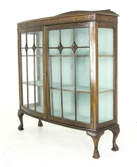 bow front curio cabinet b492 antique scottish oak bow front china cabinet display