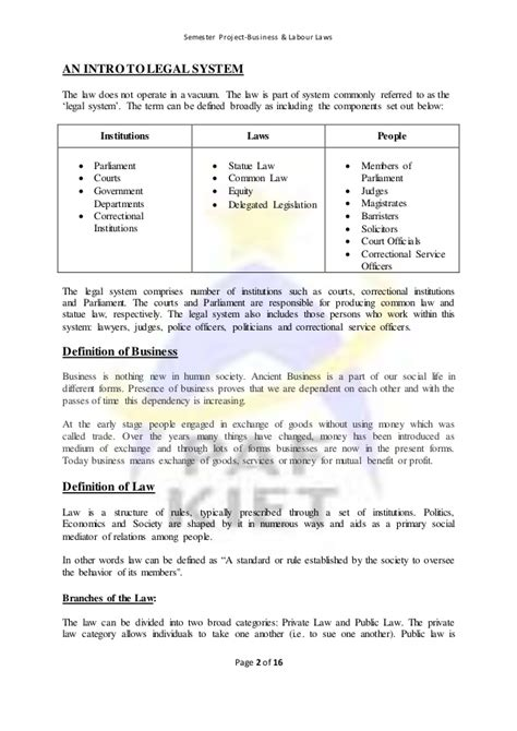 Mba Project Report On Labour Laws by Summer 2016 Semester Project Business Labour Laws 71416