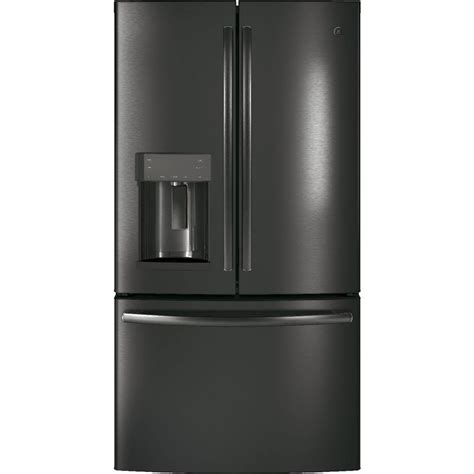 refrigerator counter depth door ge 22 2 cu ft counter depth door refrigerator in black stainless steel gye22hblts the