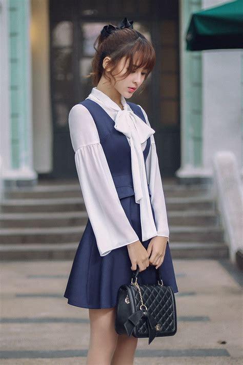 Vneck 2 Colour Korean Style by Korean Fashion Japanese V Neck Blue Color Dress