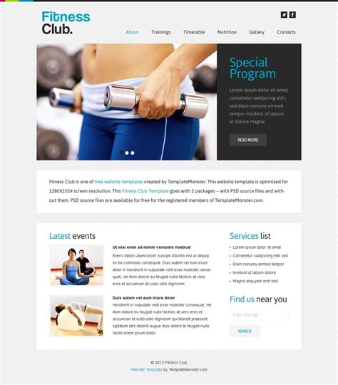Free Website Template For Fitness Club Free Templates Online Fitness Website Design Templates