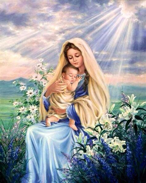 imagenes de jesus y maria juntos la virgen mar 237 a y el ni 241 o jes 250 s imagens santas pinterest