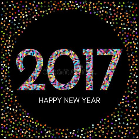 happy new year element vector design happy new year 2017 label with colorful confetti on black