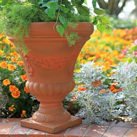 Resin Garden Decor Garden Beautiful Resin Planter Urns For Garden Decorating Design Ideas Cement Resin Planter