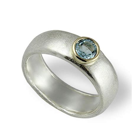 aquamarine engagement band silver and gold wedding band