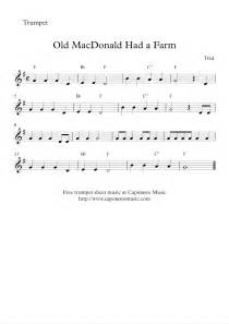 Free easy trumpet sheet music old macdonald had a farm