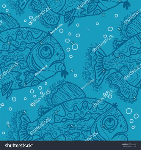 blue pattern ornamental fish air bubbles stock vector 237591004