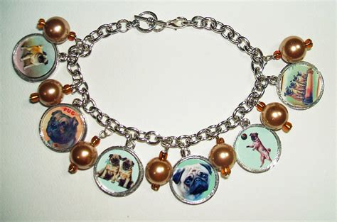 pug charm bracelet pug dogs charm bracelet vintage images altered on luulla