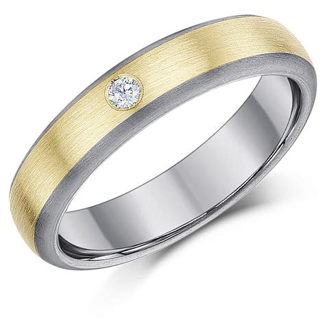 5mm Wedding Ring by 5mm Titanium 9ct Gold 0 05ct Engagement Wedding
