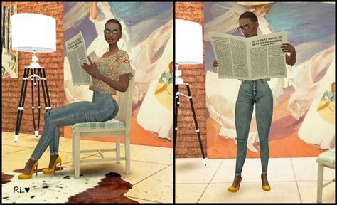 Reading newspaper poses at Rethdis love » Sims 4 Updates