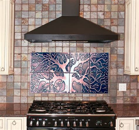 decorative tile backsplash over stove custom made lion 25 b 228 sta copper backsplash id 233 erna p 229 pinterest koppar