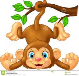 Cartoon cute monkey hanging on tree branch stock vector image