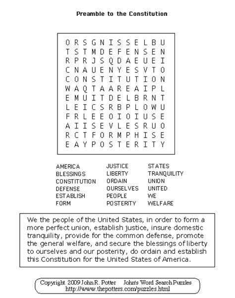 Constitution Search Worksheet Answers by S Word Search Puzzles Preamble To The Constitution