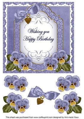 craftsuprint card dblue pansy happy birthday fancy 7in decoupage topper