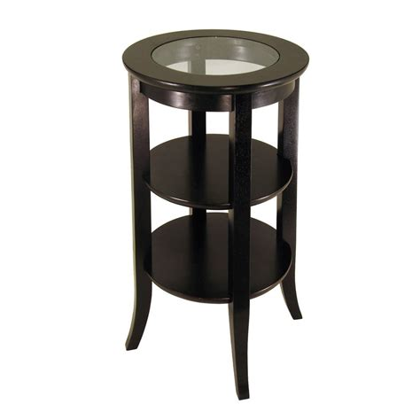 espresso accent table shop winsome wood genoa dark espresso end table at lowes com