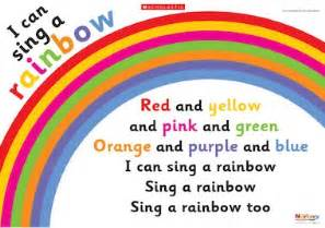colors of the rainbow lyrics i can sing a rainbow poster early years teaching