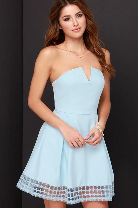 light blue strapless top pretty light blue dress strapless dress embroidered