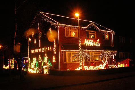 file house decorated with christmas lights at moreton hall