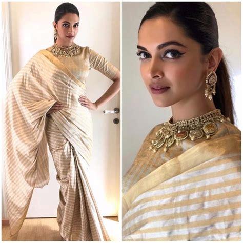 deepika padukone gold saree deepika padukone makes a strong case for metallic sarees