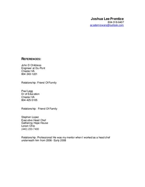 Resume References by Gallery Of Format References Resume
