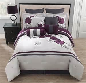 10 piece queen poppy purple and gray comforter set