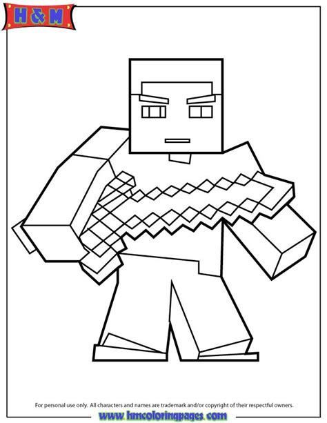 epic minecraft coloring pages herobrine with sword coloring page minecraft coloring