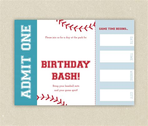 free template for baseball ticket invitation custom