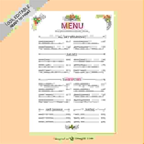 Editable Menu Templates Free 6 restaurant menu templates free procedure template sle