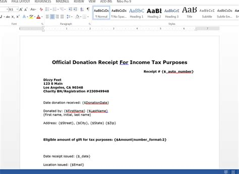 tax donation receipt template receipt template doc for word