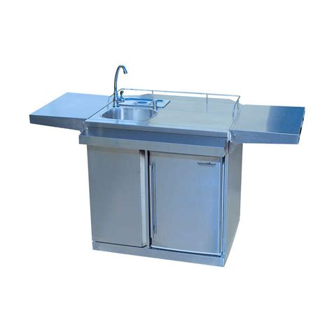 Leisure season 62 in stainless steel outdoor kitchen cart and beverage center with fridge and