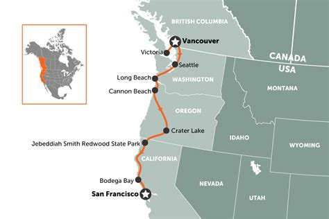 san francisco vancouver map west coast usa road trip travel nation