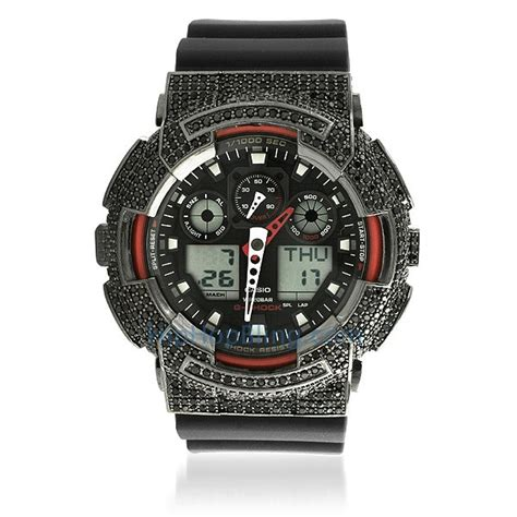 custom casio g shock ga100 black cz trim