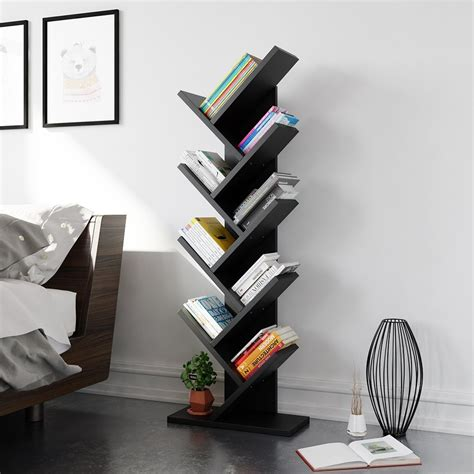 tribesigns 9 shelf tree book shelf modern bookcases and