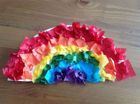 Tissue Paper Rainbow Craft - paper plate rainbow with tissue paper use a paintbrush