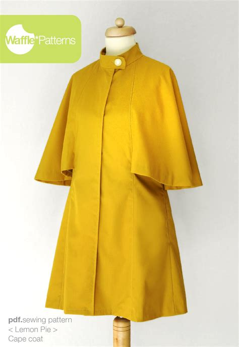 pattern sewing coat pdf sewing pattern cape coat lemon pie size 34 48 waffle