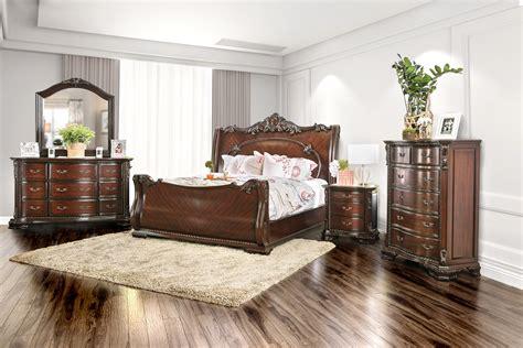 poundex f9231 louis philippe sleigh bedroom set cherry sleigh bed whittington cherry 3 pc king sleigh bed