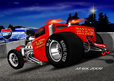 christmas hot rod cards merry christmas guys draglistcom drag racing