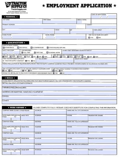 printable job application for tractor supply download tractor supply job application form fillable