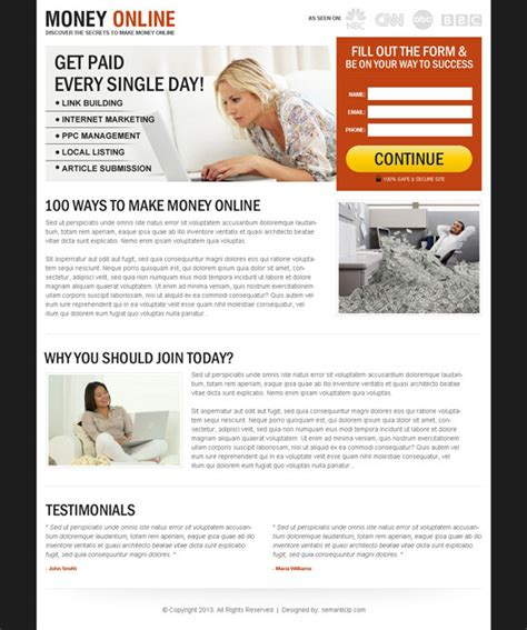 design online and earn money 20 effective and converting landing page design exle