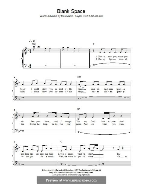 tutorial gitar blank space blank space piano sheet music printable blank space