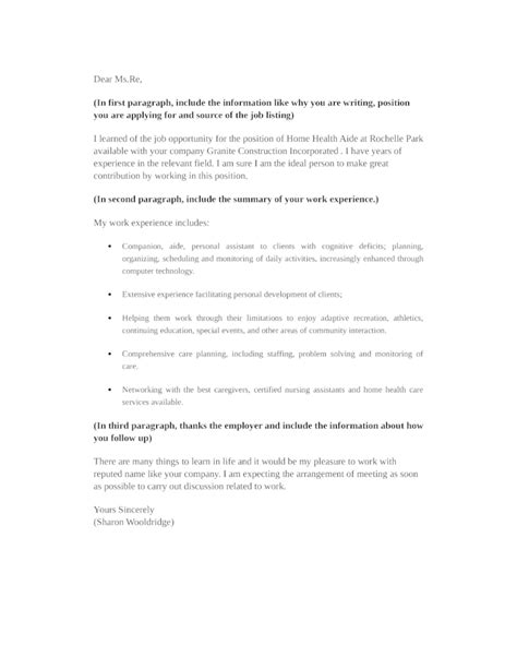 Home Care Aide Cover Letter by Basic Home Health Aide Cover Letter Sles And Templates