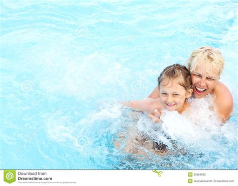 female swimmer hygiene woman and girl swimming in the pool stock photo image