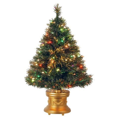 national tree company 3 ft fiber optic artificial tree with multicolor lights