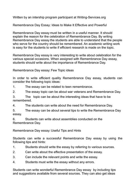 Day Essay by Calam 233 O Remembrance Day Essay Ideas To Make It Effective And Powerful