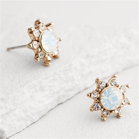 white opal earrings gold white opal starburst stud earrings market