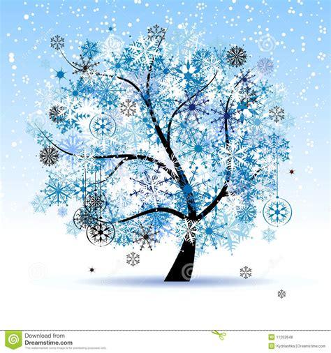 clipart natalizi albero di inverno fiocchi di neve festa di natale