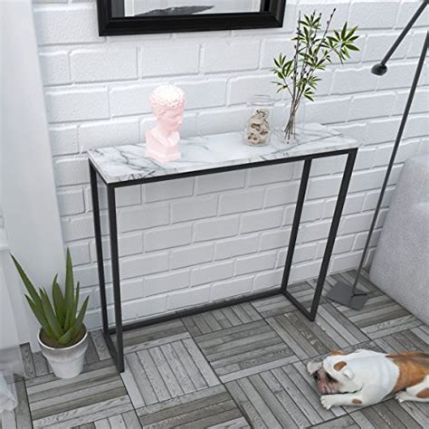 tilly lin modern accent faux marble console table black metal frame  hallway entryway